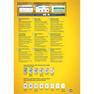 Typenschild-Etiketten, wasserfest, 210 x 297 mm, 8 Stück, silber AVERY ZWECKFORM L6013-8