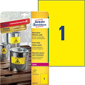 Folien-Etiketten, wasserfest, 210 x 297 mm, 8 Stück, gelb AVERY ZWECKFORM L6111-8