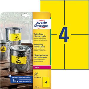 Folien-Etiketten, wasserfest, 105 x 148 mm, 80 Stück, gelb AVERY ZWECKFORM L6132-20