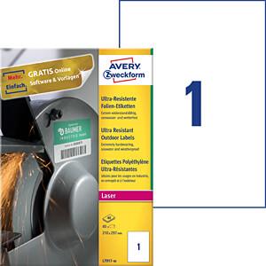 Folien-Etiketten, extrem resistent, 210 x 297 mm, 40 Stück, weiß AVERY ZWECKFORM L7917-40