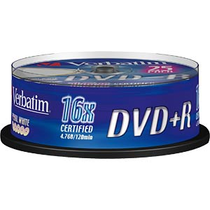 Verbatim DVD+R 4.7 GB, 25-disc cake box VERBATIM 43500