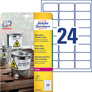 Weatherproof labels 64.6 x 33.8 mm AVERY ZWECKFORM L4773-20