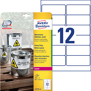 Weatherproof labels 97 x 42.3 mm AVERY ZWECKFORM L4776-20