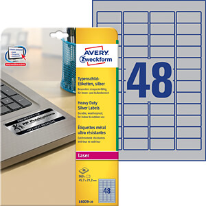 Name plate labels, 45.7 x 21.2 mm AVERY ZWECKFORM L6009-20