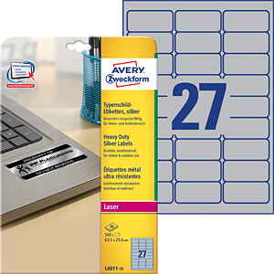 Name plate labels, 63.5 x 29.6 mm AVERY ZWECKFORM L6011-20