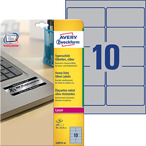 Name plate labels 96 x 50.8 mm AVERY ZWECKFORM L6012-20
