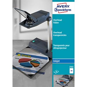 Overhead transparency for inkjet printers / 50 sheets AVERY ZWECKFORM 2502