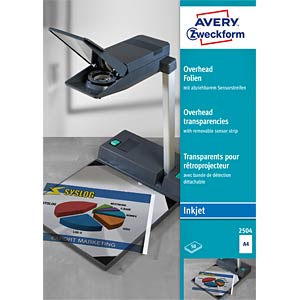 Overhead transparency for inkjet printers / 50 sheets AVERY ZWECKFORM 2504