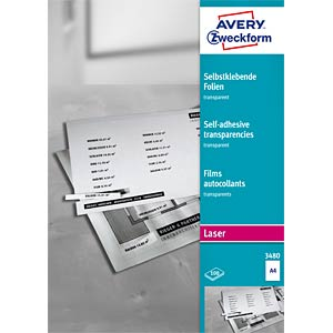 Film A4 / self-adhesive / transparent / 100 sheets AVERY ZWECKFORM 3480