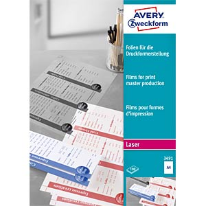A4/Clear/0.1 mm/100 sheets AVERY ZWECKFORM 3491