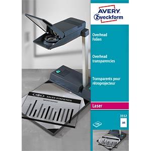 Overhead-Folien für s/w-Laser & Kopierer / 100Bl AVERY ZWECKFORM 3552