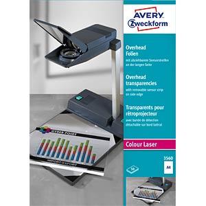 Overheadfolie, DIN A4, für Farblaserdrucker, 50 Blatt, 0,10 mm AVERY ZWECKFORM 3560