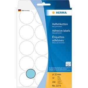 Markierungspunkte, permanent, Ø 32 mm, 480 Stück, blau HERMA 2273