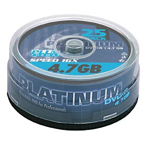 DVD+R 4,7GB, 25-Spindel PLATINUM 100016