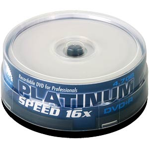 DVD+R 4,7GB, 25-Spindel bedruckb. PLATINUM 100121