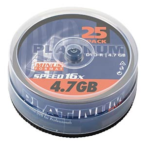 PLATINUM DVD-R 4,7GB, 120min, 16x, 25-pack spindle PLATINUM 100302