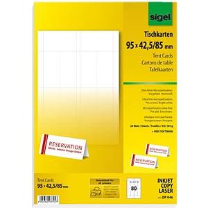 Tischkarten, 95 x 42 mm, 80 Stück, weiß SIGEL DP046