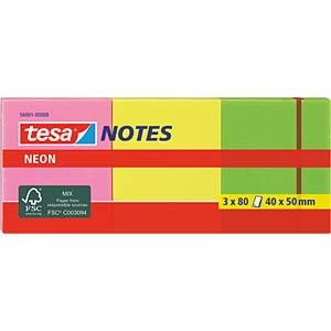 Klebezettel, 40 x 50mm, 3x 80 Blatt, neon TESA 56001-00000-00