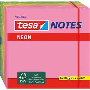 tesa® Neon Notes, 75 x 75mm, 6 x 80 Blatt TESA 56004-00000-00