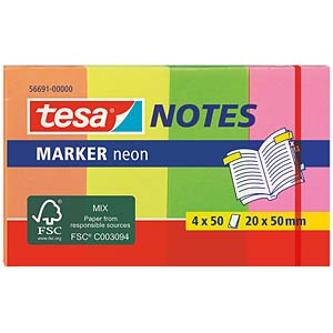 tesa® Marker Notes neon, 20 x 50mm, 4x 50 Blatt TESA 56691-00000-01