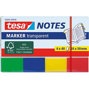 tesa® Marker Notes transp. 20x 50mm, 4x40 Blatt TESA 56694-00000-01