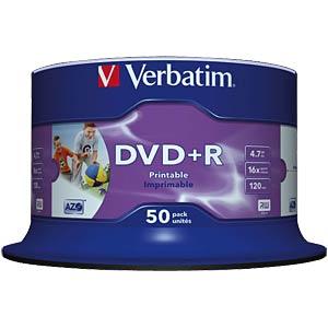 Verbatim DVD+R 4,7GB, 50-er, Inkjet printable VERBATIM 43512