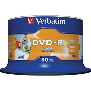 Verbatim DVD-R inkjet printable No ID brand VERBATIM 43533