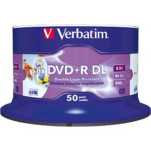 Verbatim DVD+R 8.5 GB, 50 discs, double layer, no ID VERBATIM 43703