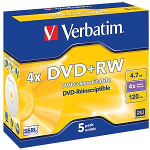 Verbatim DVD+RW 4.7 GB, 5x jewel cases VERBATIM 43229