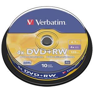 Verbatim DVD+RW 4,7GB, 10er-Spindel VERBATIM 43488