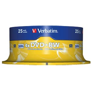Verbatim DVD+RW 4.7 GB, spindle of 25 VERBATIM 43489