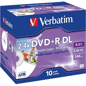 Verbatim DVD+R 8.5 GB, 10 discs, double layer, print VERBATIM 43665