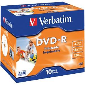 Verbatim DVD-R 4.7 GB, 10 pcs Jewel Case, Inkjet Printable VERBATIM 43521