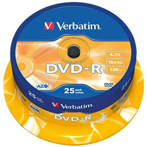 Verbatim DVD-R 4.7 GB, 25-disc cake box VERBATIM 43522