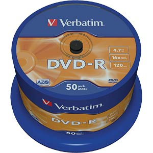 Verbatim DVD-R 4.7 GB, 50-disc cake box VERBATIM 43548