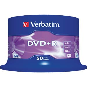 Verbatim DVD+R 4,7GB, 50-er Cake-Box VERBATIM 43550