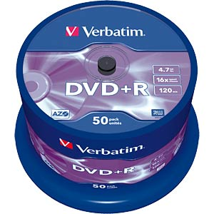 Verbatim DVD+R 4.7GB, 50-disc cake box VERBATIM 43550