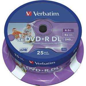 Verbatim DVD+R 8.5 GB, 25 discs, double layer, print VERBATIM 43667