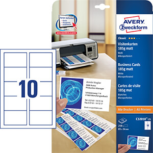 250 business cards with micro perforation AVERY ZWECKFORM C32010-25