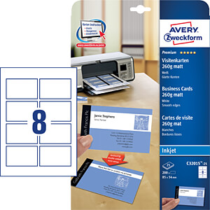200 business cards with smooth edges, coated AVERY ZWECKFORM C32015-25