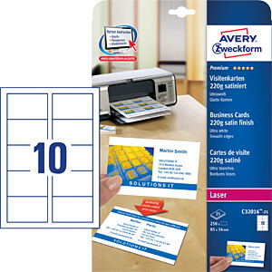 250 business cards with smooth edges AVERY ZWECKFORM C32016-25