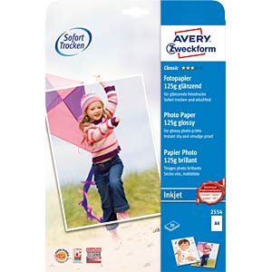 Classic inkjet photo paper A4 125g 20 sheets AVERY ZWECKFORM 2554
