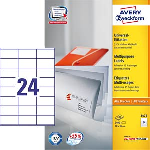 Adress-Etikett 70x36mm AVERY ZWECKFORM 3475