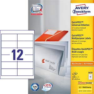 Address label 97 x 42.3 mm AVERY ZWECKFORM 3659