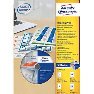 Design- und Printsoftware für Etiketten AVERY ZWECKFORM ADP5000