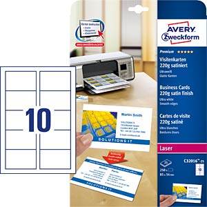 250 Visitenkarten mit glatten Kanten AVERY ZWECKFORM C32016-25