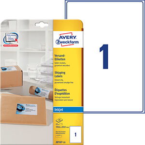 25 labels, for packages/packets, white AVERY ZWECKFORM J8167-25