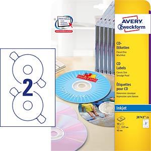50 CD/DVD labels, no-touch, matt AVERY ZWECKFORM J8743A-25