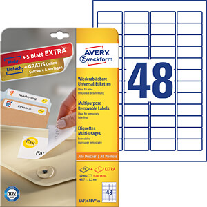 Kennzeichnungsetiketten AVERY ZWECKFORM L4736REV-25