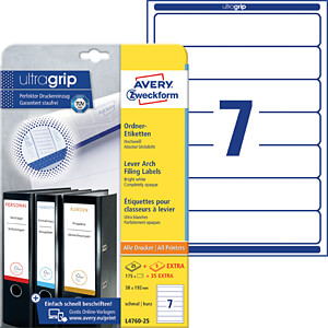 Lever arch filing label 38 x 192 mm AVERY ZWECKFORM L4760-25